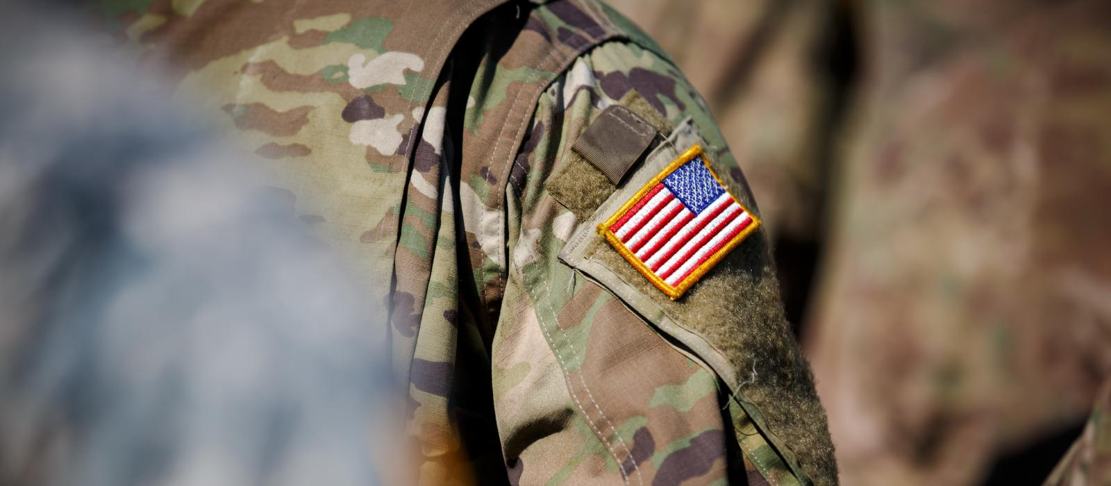 American flag on military uniform
